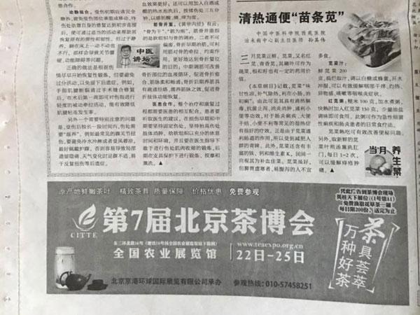 茶博会北京晚报广告